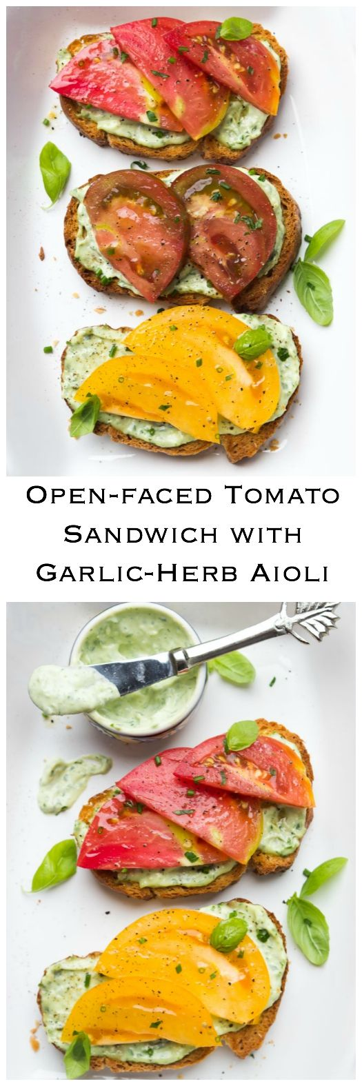 Crisp toast topped with garlic-herb mayonnaise and sweet juicy heirloom tomato slices. Breakfast, lunch, or dinner at its finest   littlebroken.com @littlebroken