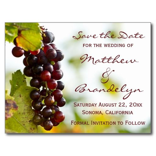 Winery Grapes Save the Date Postcards