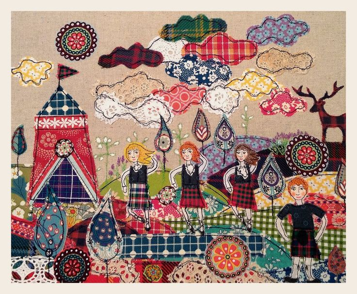 Highland fling appliqué fabric picture By lucy levenson www.lucylevenson.com