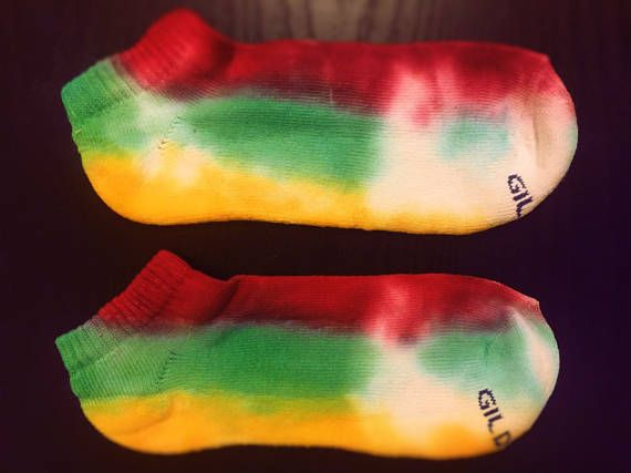 Rasta Colored Striped Tie Dye No-Show Socks