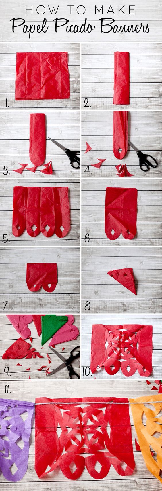 Looking for an inexpensive but eye catching way to make  mexican fiesta decor? Click for the full instructions on how to Cinco de Mayo Papel Picado banners. Wiith a few snips of the scissors, bring your celebration from so-so to spectacular!