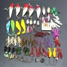 100pcs/lot Kinds of Fishing Lures Hooks Fish Hooks Tackle Minnow Bass Baits Tackle+Box