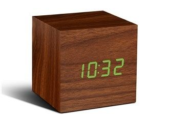 Cube Walnut Click Clock / Green LED