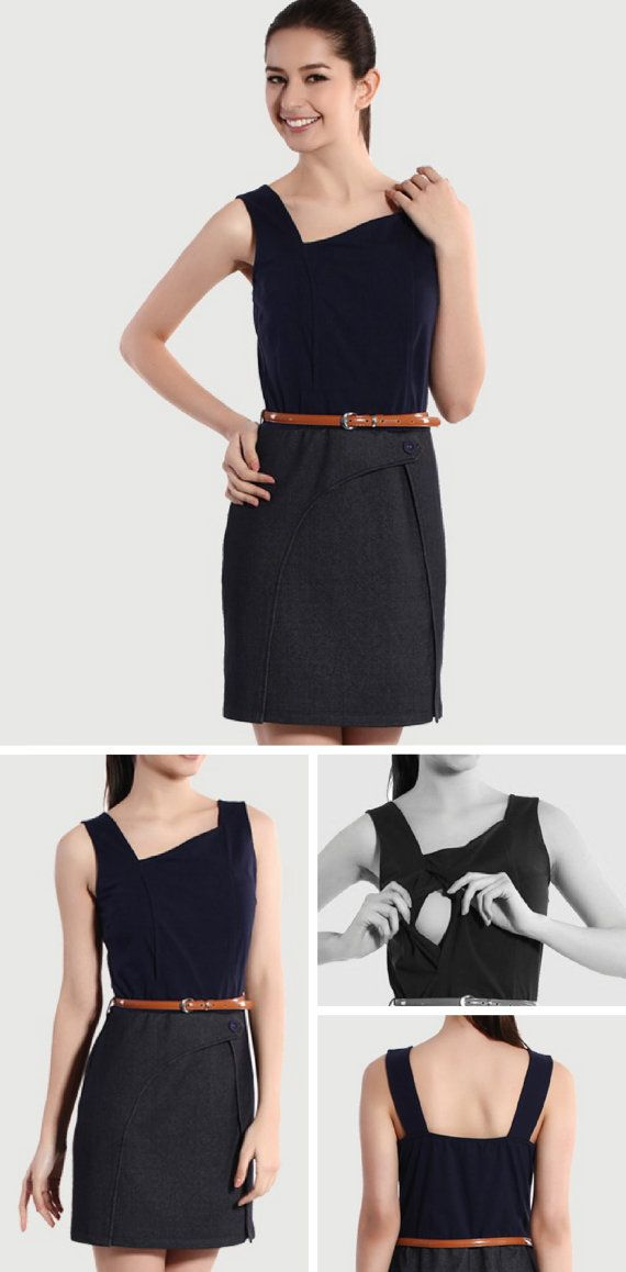 Dark Blue / Black Tank Dress by BESLOV features a special diagonal neckline with an overlap details and a placed button on the front of the skirt.  #Clothing #Maternity #Nursing #MaternityClothes #MaternityDresses #MaternityGown #MaternityShirts #NursingCover #NursingTop #NursingDress #BreastfeedingCover #BreastfeedingDress #BreastfeedingShirt #PlusSize #Custom #Wholesale #Etsy #BESLOV