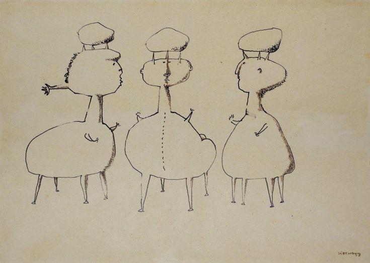 Sem Titulo 169)06 1958 Chinese Ink x Paper 30,5cm x43cm #JorgeVieira #sculpture #SaoMamede #art #drawings #visit #lisbon #gallery