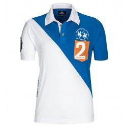 Polo La Martina Numéro 2 Bleu et Blanc