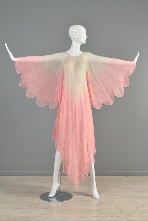 Oscar de la Renta Hand Painted Silk Flower Petal Gown, 1970s