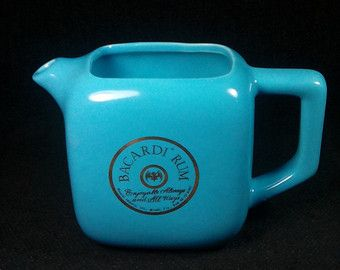 Vintage Bacardi Rum Pitcher, Ceramic, Sky Blue, Advertising Pitcher, Vintage Barware, Bar Decor, Mancave Decor, Hipster Decor