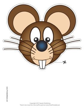 This Mouse Mask features a bucktoothed mouse with long whiskers, big cheeks, and large round ears. Free to download and print