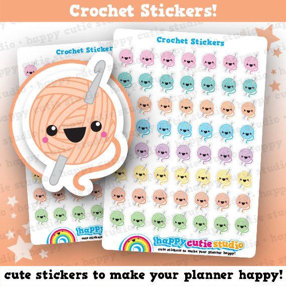 56 Cute Crochet Planner Stickers, Filofax, Erin Condren, Happy Planner, Kawaii, Cute Sticker, UK