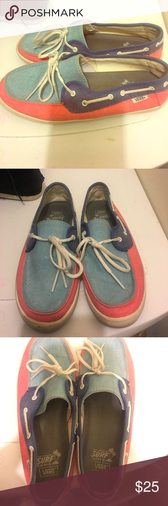 Vans Surf Light and dark denim with coral Vans. Very very cute and extremely comfortable. They are just too small for me. Worn twice! Vans Shoes Athletic Shoes