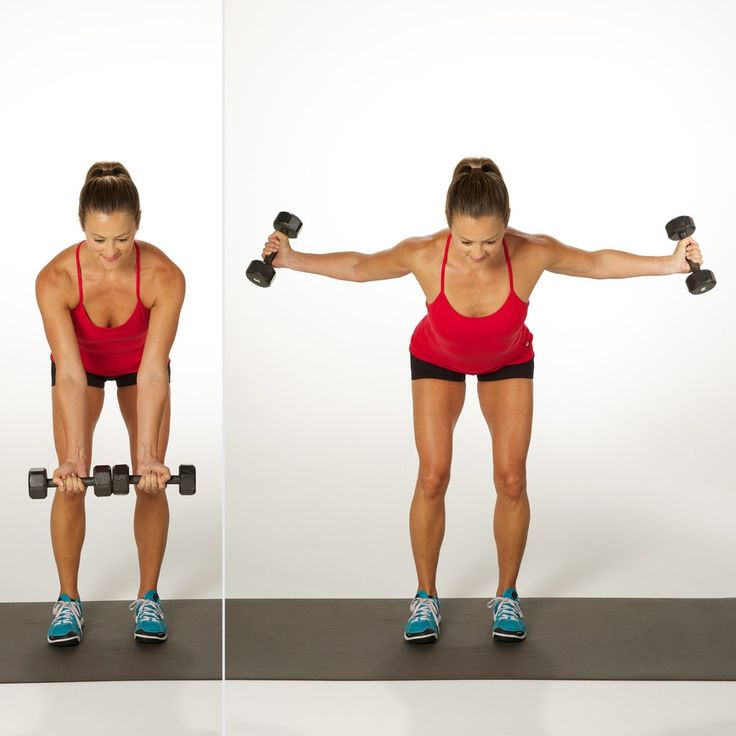 Holding a dumbbell in each hand with your closed palms facing out, stand with the knees slightly bent. Keep...