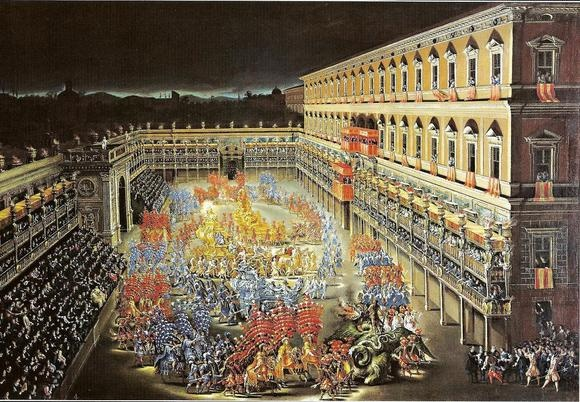The grand carousel in honour of Christina of Sweden, held at  Palazzo Barberini (painting by Filippo Lauri and Filippo Gagliardi)