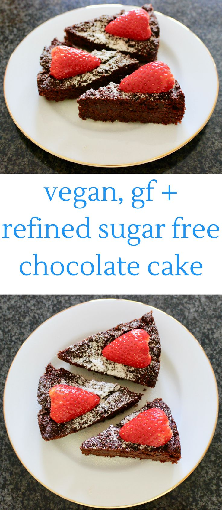 This Vegan, Gluten-Free + Refined Sugar Free Chocolate Cake is super easy to make and so delicious! It's even healthy enough to have for breakfast!