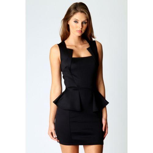 Ladies-Stylish-Square-Neck-Slim-Effect-Peplum-Frill-Bodycon-Womens-Dress-8-16