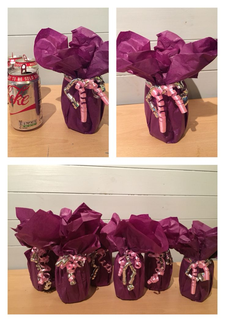 Balloon weights! DIY party helium balloon weights made from drink cans, filled with earth and covered in tissue paper!