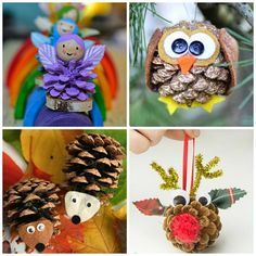 Here is a huge list of pinecone crafts for kids to make! You will find owls, fairies, reindeer, christmas trees, turkeys, spiders, and more art projects!: