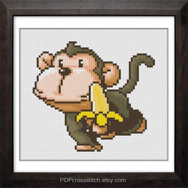 free monkey cross stitch pattern