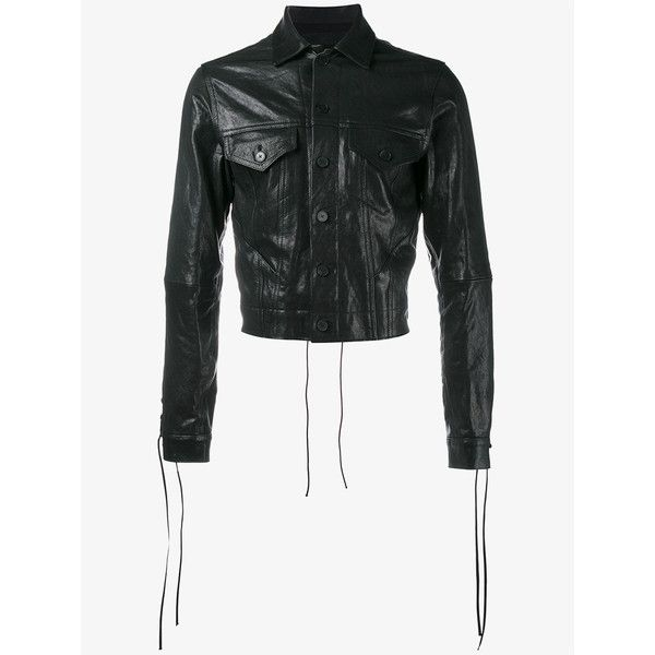 HAIDER ACKERMANN Fringed Cropped Leather Jacket (€2.070) ❤ liked on Polyvore featuring men's fashion, men's clothing, men's outerwear, men's jackets, mens slim fit jacket, mens slim jacket, mens vintage leather jackets, mens slim leather jacket and mens vintage jackets