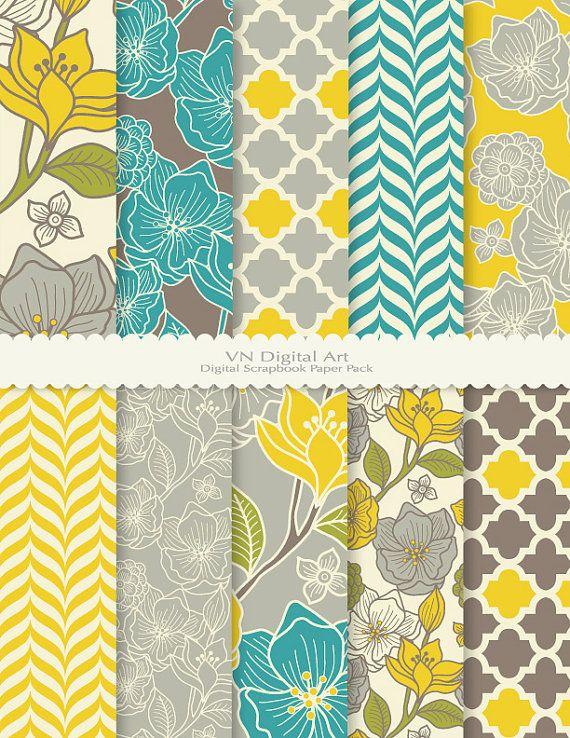 Floral Pattern Digital Scrapbook Paper Pack by
