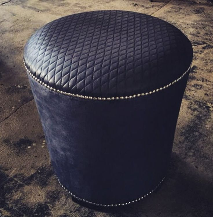 Bespoke Ottoman Stool Designed by YDA. #ottoman #stool #diamond #stitch #leather #grey #pewter #studs #velvet #design #bespoke #YDA