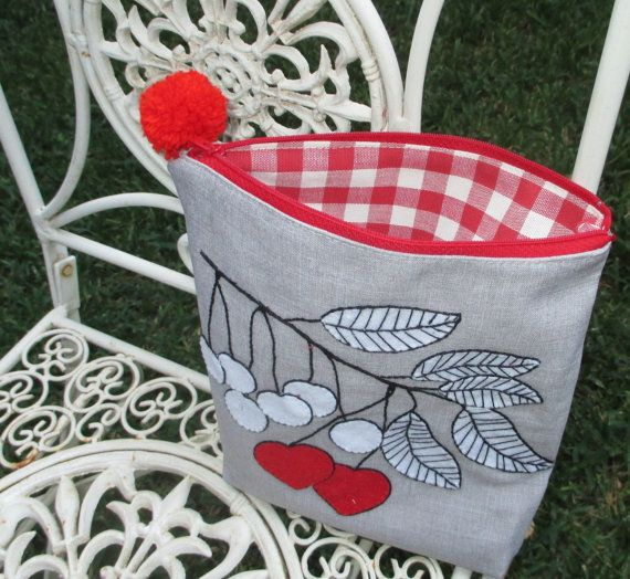 Cheries handmade pouch hand embroidered on grey fabric by Apopsis