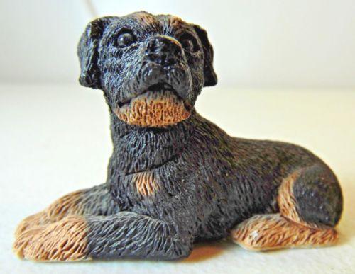 Vintage-Stone-Critter-Littles-Miniature-Rottweiler-Dog-Small-Figure