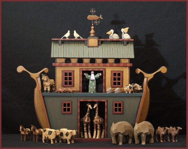 This one of a kind Handcrafted Wood Noah's Ark features ten pairs of hand carved and hand painted animals, made from tulip poplar and bass wood. This Wood Noah's Ark is embellished with a whale weathervane and roof top bird rail. American Folk artist Mo & Kelly Dallas take great pride in that their original Noah's Ark's are a part of private collections and museums throughout the world.