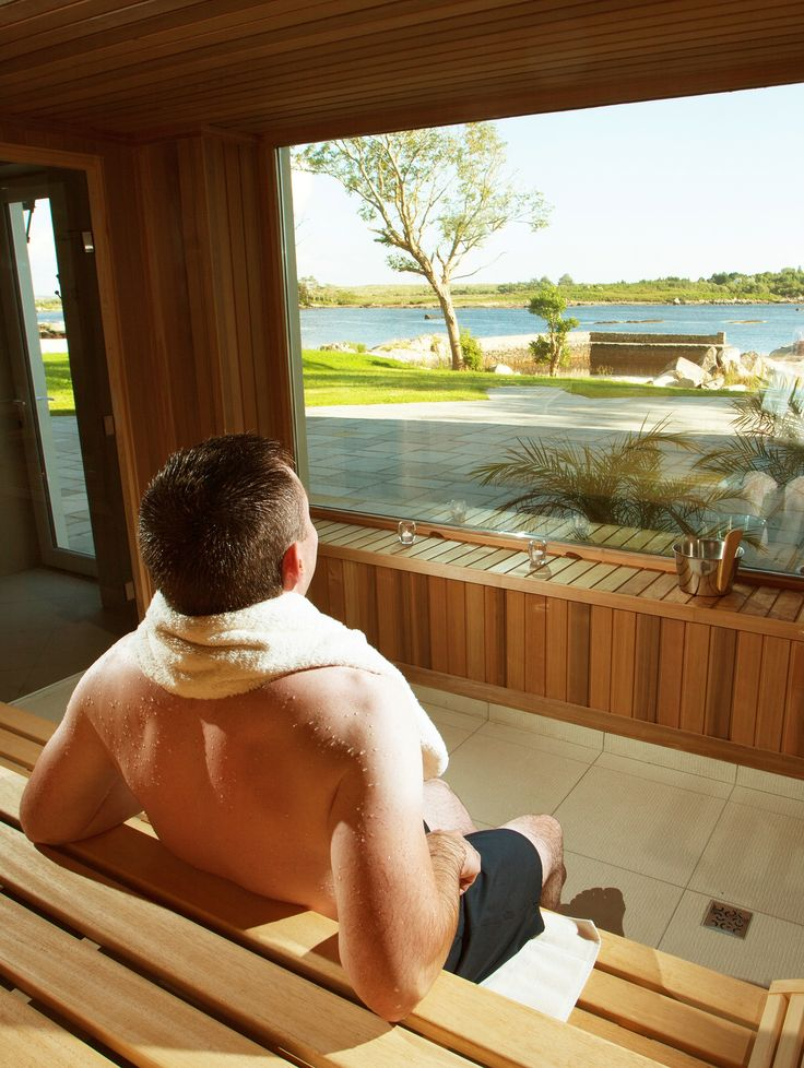 Old World Victorian Manor House meets modern Spa facilities and some stunning views from the sauna at Screebe House.