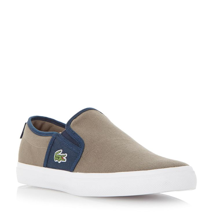 LACOSTE MENS GAZON SPORT SEP - Canvas Slip On Trainer - taupe | Dune Shoes Online