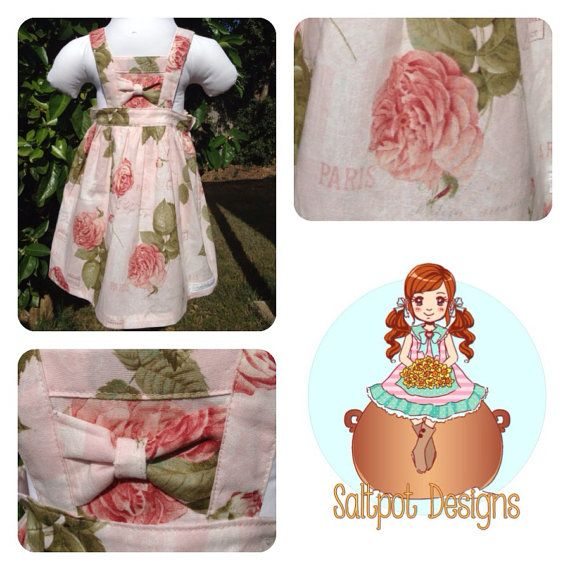 Paris Rose Boo Pinafore on Etsy, $35.00 AUD