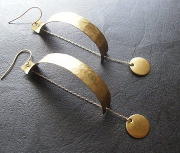 Hammered Brass And Chain Earrings by jazjewelz on Etsy, via Etsy.