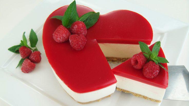TARTA DE GELATINA Y QUESO SAN VALENTÍN ( Cheesecake sin horno ) # 338 #