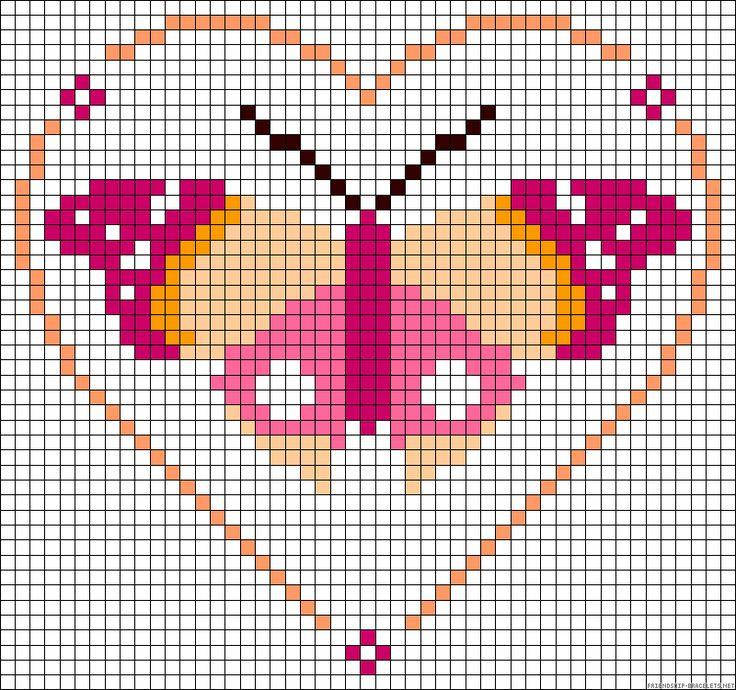 Heart butterfly perler bead pattern