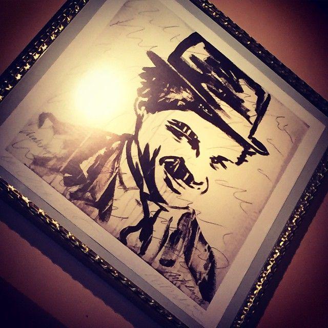 Mr. Charlot himself - Charlie Chaplin - painting by the talented Mike Kuhlmann  #art #Charlot #restaurant #Opernplatz #frankfurt #alteoper #design #artist #foodie #food #happy #frame #wall #chic #talent #movie #charliechaplin #chaplin #love