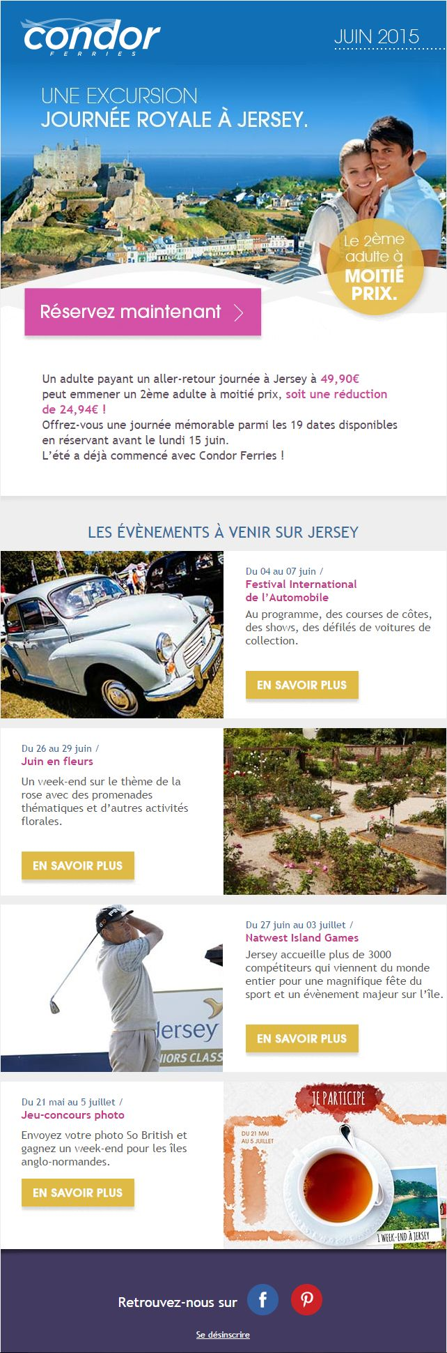 Emailing - Condor Ferries Juin 2015 - Journée Royale : http://www.condorferries.fr/