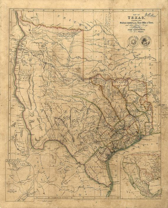 THIS IS A HIGHLY DETAILED MAP OF TEXAS CIRCA 1843  This Map of Texas, by the London firm of John Arrowsmith is quite literaly covered with hand