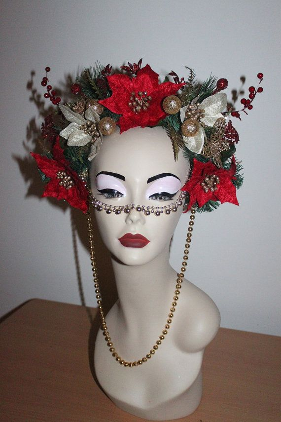 Christmas Headdress Red Green Gold. 1 ONLY by ArashiDesigns, $40.00