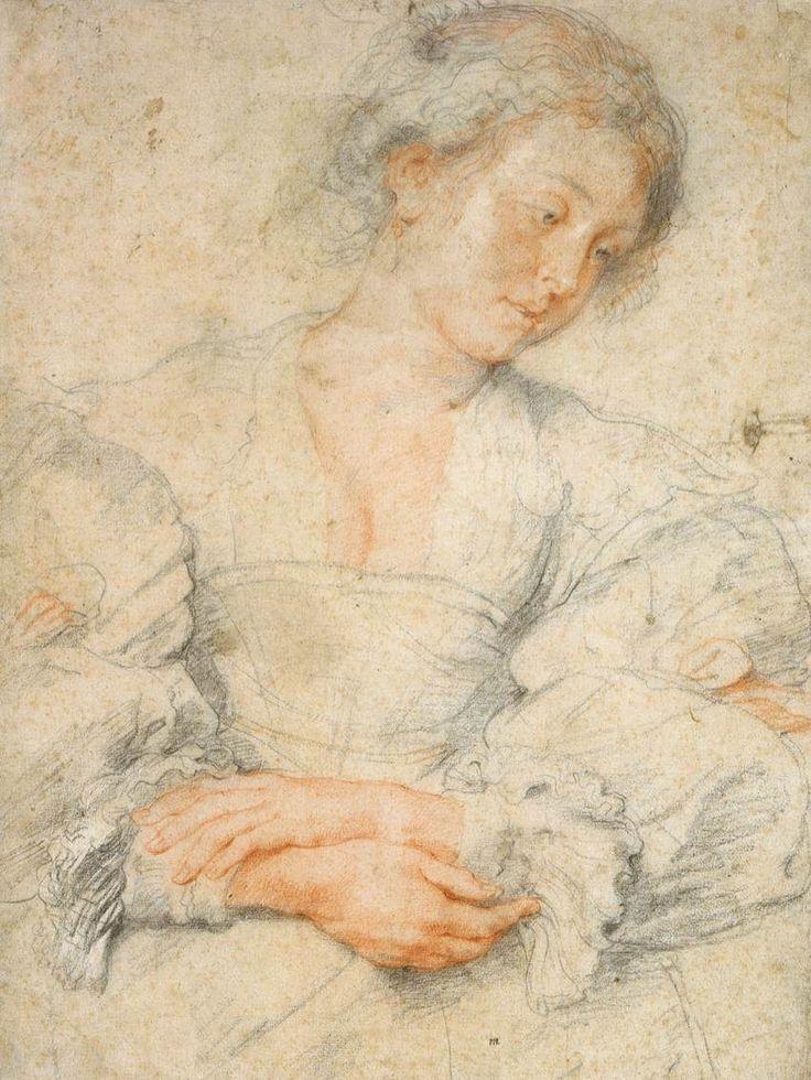 Portrait of a Young Woman  1630-36  Black and red chalk, 473 x 354 mm  Museum Boijmans Van Beuningen, Rotterdam