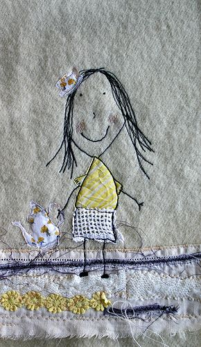 Original pinner says: freehand machine embroidery and collage using a little drawing by my daughter