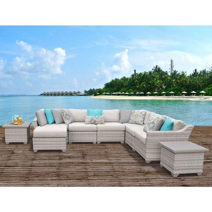 TK Classics Fairmont 9 Piece Outdoor Wicker Patio Furniture Set 09c