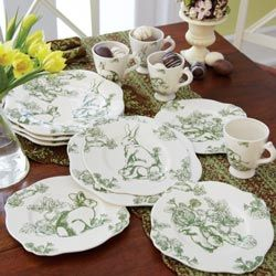Green Toile Dinnerwear I have these and love bunnies & 21 best Green bunny toile images on Pinterest | Baby bunnies ...