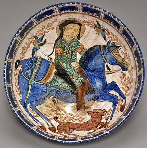 Seljuk dynasty (1038–1194) Mina'i ware ; Bowl with a Rider on Horseback accompanied by a Hound and Two Birds late 12th–early 13th century Mina'i ware; painted and gilded fritware on an opaque turquoise glaze