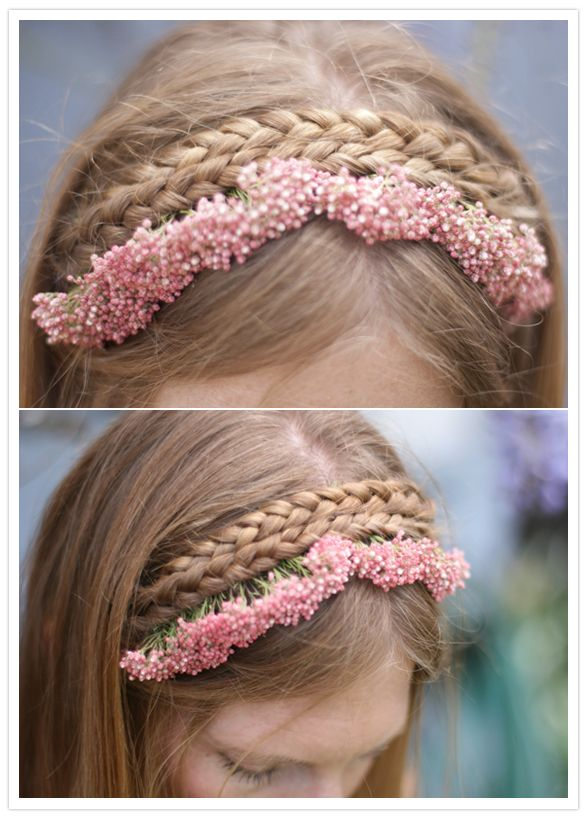 bridemaid hair styles halfup heidi braids with flowers from farmer s market 3818