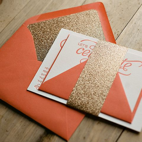 NICOLE Suite Glitter Package, gold and coral wedding, glitter wedding invitations, letterpress wedding invitations