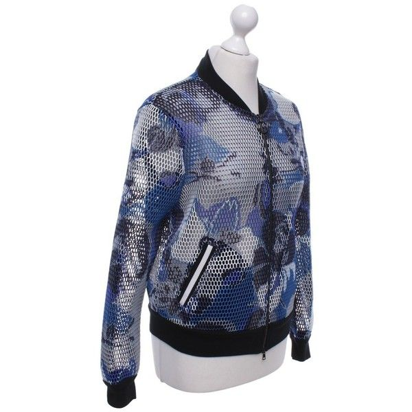 Pre-owned Bomber jacket with pattern (€100) ❤ liked on Polyvore featuring outerwear, jackets, patterned bomber jacket, zip bomber jacket, zipper bomber jacket, zip jacket and floral-print bomber jackets