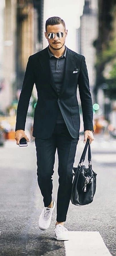 0722f2592c  aleksmusika - with a summer business casual combo with aviator sunglasses  black blazer gray polo shirt pocket square black trousers black leather bag  white ...