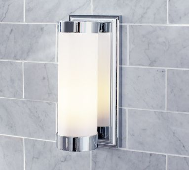 Hayden Single Sconce. Pottery Barn. Curved shade is made of milk glass to provide softly filtered light.       #potterybarn