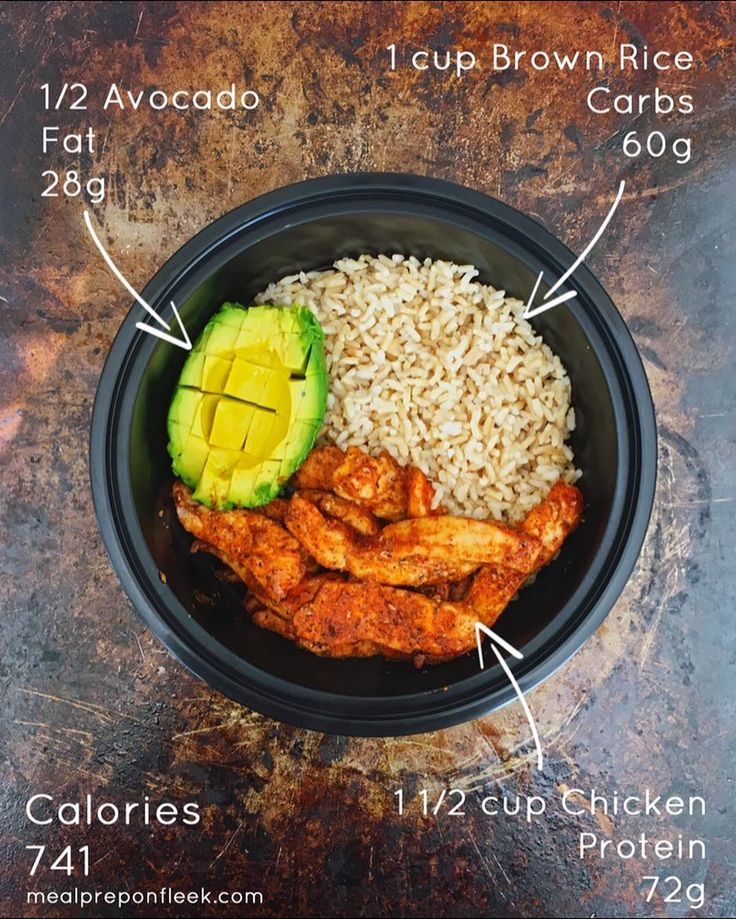 High Protein #MealPrep Bowl today... been working out a lot more and need to be eating more protein.  Shooting for 200-220g per day.  1/2 Avocados  1 cup Brown Rice  1 1/2 cup Chicken  Calories - 741 Carbs - 60g Protein - 72g Fat - 28g