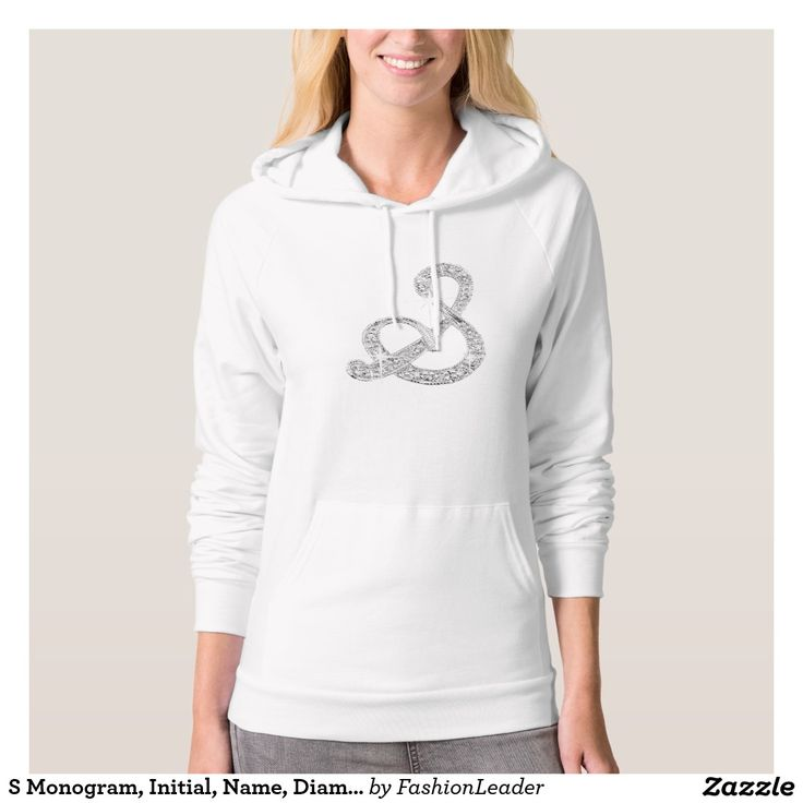 S Monogram, Initial, Name, Diamond Bling Hooded Sweatshirt